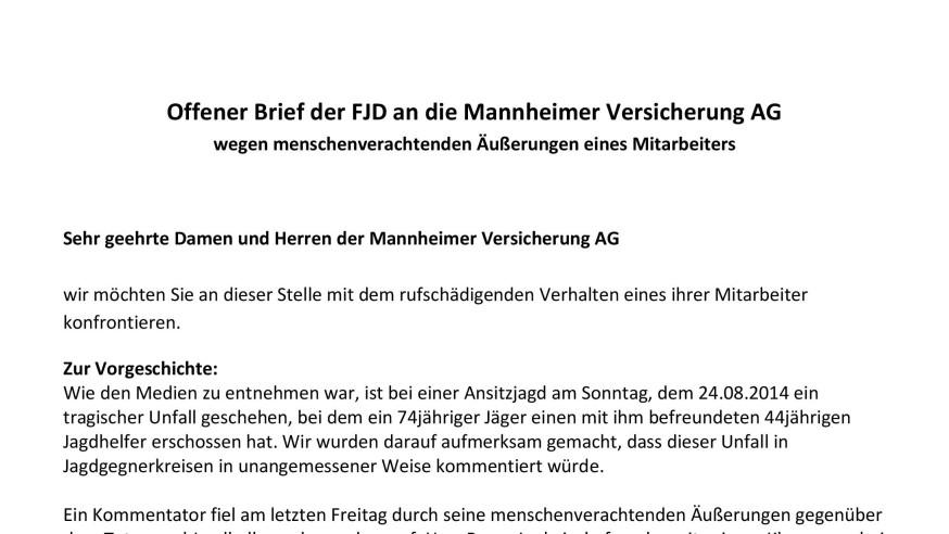mannheimer versicherungen fjd fordert stellungnahme f r jagd in deutschland e v. Black Bedroom Furniture Sets. Home Design Ideas